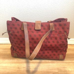 Vintage Red 90's Dooney & Bourke Bag with Clutch